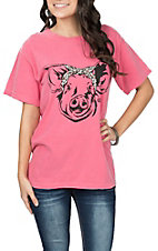 Girlie Girl Originals Women's Pink Leopard Pig S/S T-Shirt
