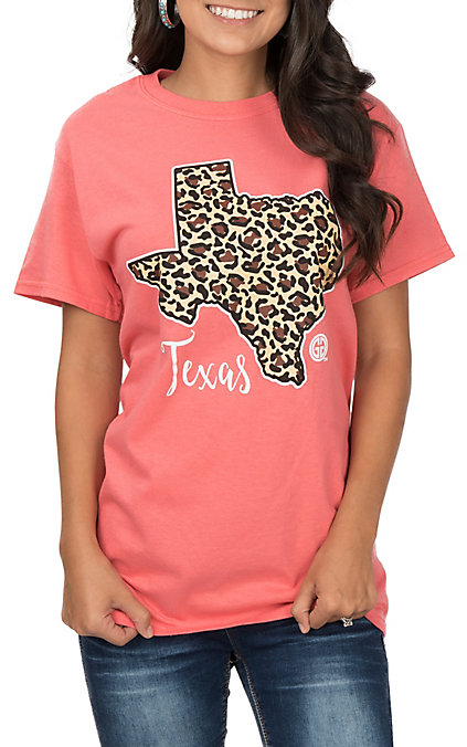 b394632b Girlie Girl Originals Women's Coral Leopard Texas T-Shirt