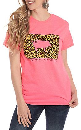 Girlie Girl Originals Pink Leopard Pig Tag Short Sleeve T-Shirt