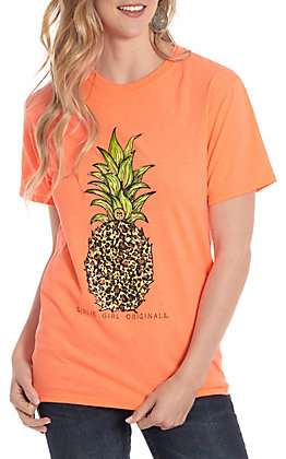 Girlie Girl Originals Coral Leopard Pineapple Short Sleeve T-Shirt