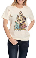 XOXO Art & Co Women's Neutral with Leopard Cactus T-Shirt