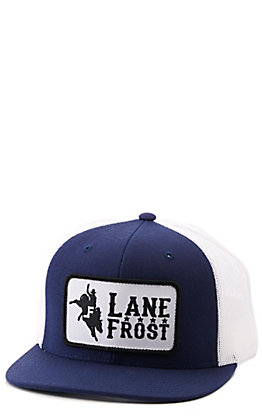 Lane Frost Midnight Navy and White with Bull Rider Patch Snapback Cap