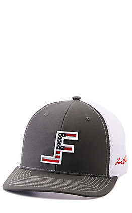 Lane Frost Courage Charcoal Grey and White with Center American Flag Logo Snapback Cap