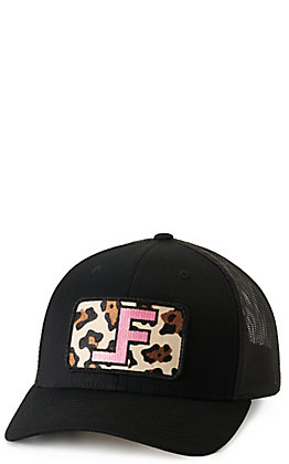 Lane Frost Women's Black with Leopard and Pink Logo Patch Cap