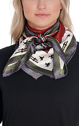Burgundy Broncs & Fences Wild Rags Scarf