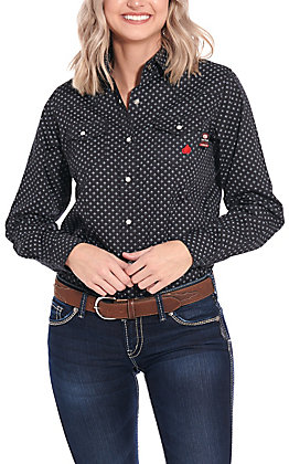 Forge Workwear Women's Black with Grey Geo Print Long Sleeve FR Work Shirt