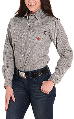 Forge Workwear Women's Black & Grey Print Long Sleeve FR Work Shirt