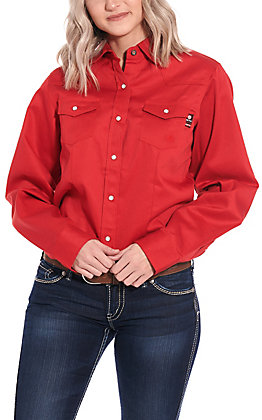 Forge Workwear Women's Solid Red Long Sleeve FR Work Shirt