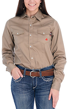 Forge Women's Flame Resistant Solid Khaki Work Shirt