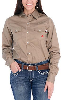 Forge Women's Khaki Pearl Snap Long Sleeve FR Work Shirt