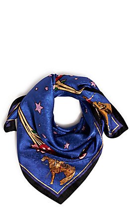 Wyoming Trader's Limited Edition Teal Blake Rodeo Girls Silk Scarf