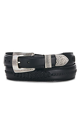 Onyx by Brighton Men's Black Salina Leather 1 1/4'' - 1'' Belt