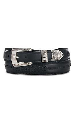 Onyx by Brighton Men's Black Salina Leather 1 1/4'' - 1'' Belt