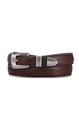 Onyx by Brighton Men's Brown Salina Leather 1 1/4'' - 1'' Belt