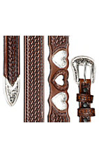 Silver Creek Ladies Brown Basket Weave Double Heartz Western Belt LGN80034