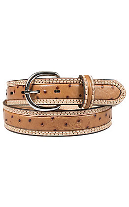 Tony Lama Men's Natural Brown Ostrich Print Double Stitch Stockman Western Belt