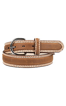 Tony Lama Men's Natural Bark Brown Double Stitch Stockman Western Belt
