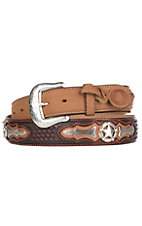 Justin Tan Odessa w/ Red Overlay and Star Conchos Western Fashion Belt