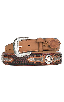 Justin Tan Odessa with Red Overlay and Star Conchos Western Fashion Belt