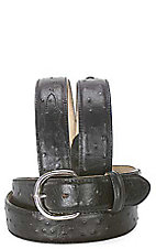 Silver Creek Men's Black Ostrich Print Belt