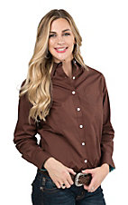George Strait by Wrangler Women's Solid Brown Long Sleeve Western Shirt