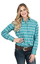 George Strait by Wrangler Women's Turquoise, Brown, and White Plaid Long Sleeve Western Shirt