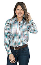 George Strait by Wrangler Women's White, Turquoise, and Brown Plaid Long Sleeve Western Shirt