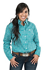 George Strait by Wrangler Women's Turquoise and White Paisley Print Long Sleeve Western Shirt