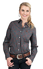 George Strait by Wrangler Women's Turquoise and Brown Paisley Print Long Sleeve Western Shirt