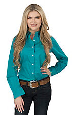 George Strait by Wrangler Women's Solid Turquoise Long Sleeve Western Shirt