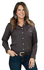 George Strait by Wrangler Women's Brown with Turquoise Polka Dots Long Sleeve Western Shirt