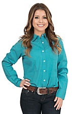 George Strait by Wrangler Women's Turquoise and White Polka Dot Long Sleeve Western Shirt