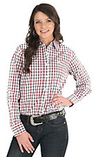 George Strait by Wrangler Women's White, Red, and Black Plaid Long Sleeve Western Shirt