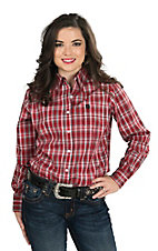 George Strait by Wrangler Women's Red, Black, and White Plaid Long Sleeve Western Shirt