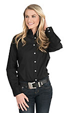 George Strait by Wrangler Women's Solid Black Long Sleeve Western Shirt