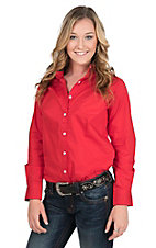 George Strait by Wrangler Women's Solid Red Long Sleeve Western Shirt