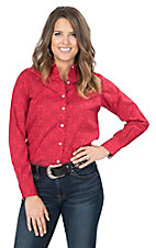 George Strait by Wrangler Women's Red and Black Paisley Print Long Sleeve Western Shirt