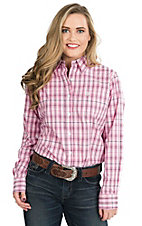 George Strait by Wrangler Women's Pink, Navy, and Light Pink Plaid Long Sleeve Western Shirt