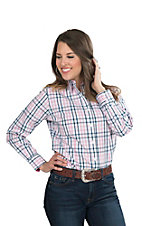 George Strait by Wrangler Women's Pink, Navy, and White Plaid Long Sleeve Western Shirt