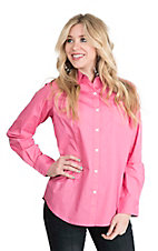 George Strait by Wrangler Women's Solid Pink Long Sleeve Western Shirt