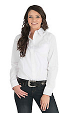 George Strait by Wrangler Women's Solid White Long Sleeve Western Shirt