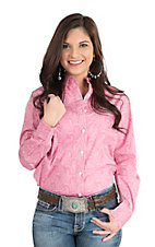 George Strait by Wrangler Women's Pink and White Paisley Print Long Sleeve Western Shirt