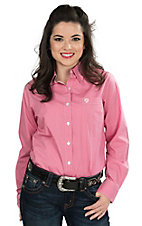George Strait by Wrangler Women's Pink with White Polka Dots Long Sleeve Western Shirt
