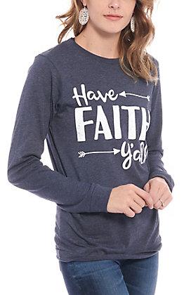 Women's Navy Have Faith Y'all Long Sleeve T-Shirt