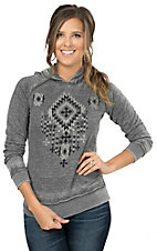 Wired Heart Women's Grey with Black Aztec and Rhinestones Long Sleeve Casual Knit Hoodie