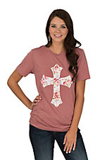 Lightheart Women's Mauve Floral Cross Short Sleeve T-Shirt