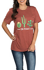 Women's Rust Orange Cactus On Point Short Sleeve Casual Knit Tee