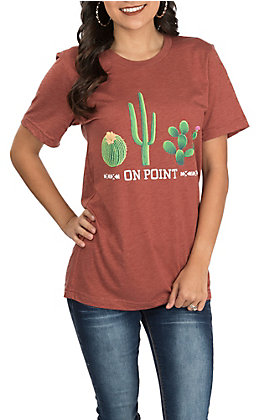 Couture Tee Women's Rust Orange Cactus On Point Short Sleeve Casual Knit T-Shirt