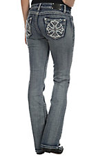 Wired Heart Women's Medium Wash with Maltese Cross Open Sewn Flap Pocket Boot Cut Jeans