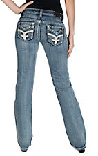 Wired Heart Women's Medium Wash with Leather Fleur De Lis Sewn Flap Open Pocket Boot Cut Jeans